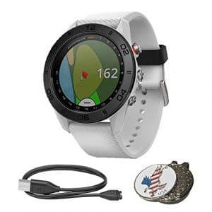 Garmin Approach S60Bundle Golf GPS Montre de Sport | avec Chargement USB/Cble de Données, spécial Conçu sur Mesure Mark de Balle de Golf Chapeau Clip Set, White with White Band
