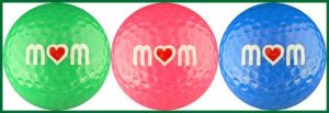 Mom w/ Heart in Multi Color Golf Ball Gift Set