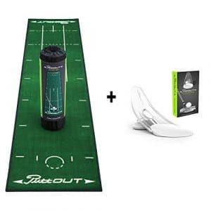 PuttOut Golf True Roll Tapis et Pressure Trainer Set Vert/gris (50x 240cm)–Aide à l'entraînement Indoor Tapis de putting Golf Coffret cadeau, vert, 240x50cm