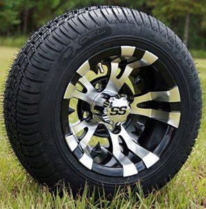 25,4cm Vampire usiné/noir Golf Cart Roues avec 205/50–10Low Profile Golf Cart Pneus Combo–Lot de 4