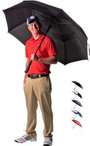 Athletico Parapluie de golf à ouverture automatiqueExtra large Coupe-vent et étanche–Poignée ergonomique en caoutchouc 157/172,7cm, Noir , 1,7 m