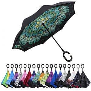 G4Free Grand Parapluie Inversé Double Épaisseur Résistant au Vent avec Poignée en C, paon