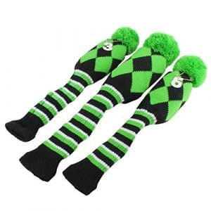 Golf Club Knit Head Cover 3pcs Headcover Set Vintange Pom Pom Sock Covers 1-3-5 Green & Black by Craftsman