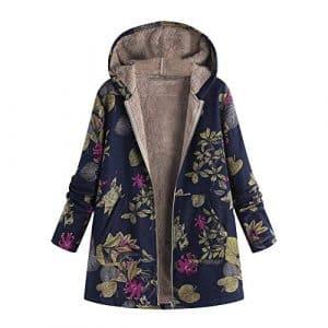 Haut à Manches Longues zippé à Capuche zippé à Manches Longues pour Femmes,Kinlene Womens Winter Warm Outwear – Pochettes à Capuchon à imprimé Floral – Manteaux Oversize Vintage