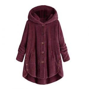 Kinlene Manteau de Couleur Unie à Capuche pour Femmes,Manteau Bouton des Femmes de la Mode Moelleux queues Haut Pull à Capuche Pull lâche