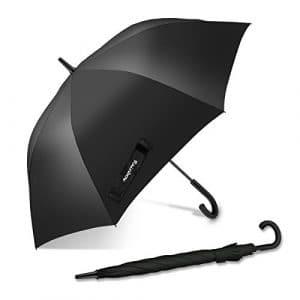 Parapluie coupe-vent, Nesus 34.6 pouces long bâton grand voyage parapluie de golf léger imperméable à l'eau automatique ouvert durable et solide parapluie avec 8 côtes de fibre de verre pour hommes et femmes (noir)