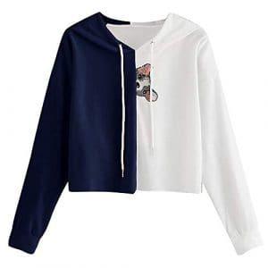 Rovinci Mode Femmes Sweat-Shirt Bloc de Couleur Chien Animal Impression Cordon de Serrage Patchwork Manche Longue Chemisier à Capuche L'automne Hiver Décontractée Vêtements