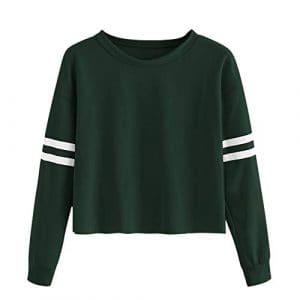 Rovinci Printemps L'automne Hiver Aux Femmes Manche Longue Bande Impression Col Rond Décontractée Couleur Unie Sweat-Shirt Chemisier Tops