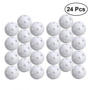 STOBOK 24pcs balles de Jeu perforées balles de Sport d'entraînement de Golf Creuses (Blanc)