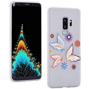 ToMoKi Coque de protection ultra fine en silicone TPU pour Samsung Galaxy S9 Plus Motif empreinte digitale et poussière