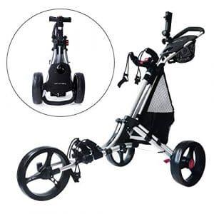 Trolem One Lock 3 Roues Chariot de Golf Push Chariot de Golf Easy Ouvert & Close-Frein de Pied avec Sac à Maille et Sac de Transport
