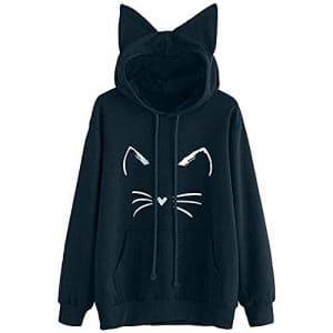 Vêtements d'hiver Femmes Sweatshirt Hooded Pullover Tops Blouse,Kinlene Sweat à Capuche à Manches Longues Femmes Oreille de Chat Solide