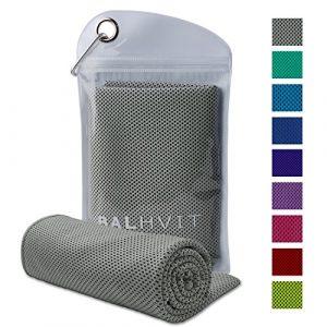 Balhvit Serviette de refroidissement pour soulagement instantané, 100 x 30 cm Respirabilité Cool Towel pour Voyage, Sport, Salle de gym, de yoga, la natation, plage et les autres sport (Gris, 47*14inch)