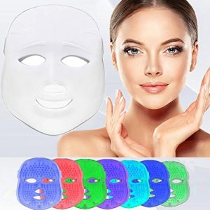 Havenfly [Nouvelle version 2018] LED Photon Therapy Rouge Bleu Vert clair rajeunissement de la peau blanchissant Beauté du visage Daily Skin Care Masque d'or (3 couleurs, Blanc)