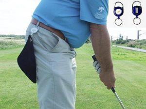 Mini serviette de golf rétractable Noir, clip n'importe où. Blue Reel 20cm x 20cm