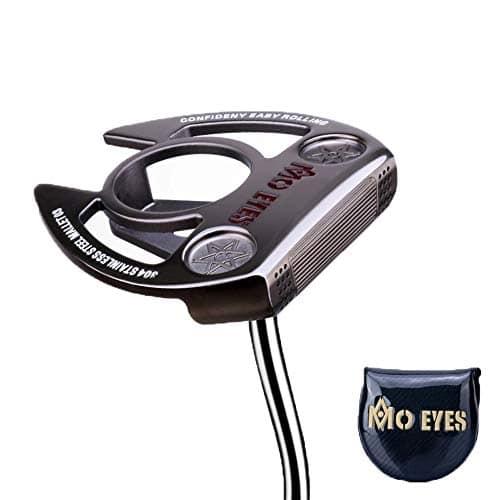 PGM Clubs de Golf Professionnels, 304 putters de Golf Droit en Fer Doux avec Centre de gravité Bas et Aide de visée, Cache-tête de Putter Gratuit,Gold