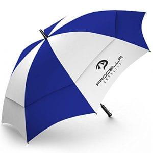 Procella Parapluie de Golf Umbrella – 157,5cm – Structure renforcée – Voûte Double – Résistance au Vent, au Soleil et à la Pluie – Ouverture Automatique – Grand mât Solide – Pochette de Transport