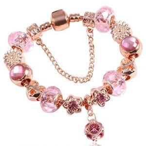 QWERST Bracelet Mode Bijoux Bracelet Or Rose pour Les Femmes Perles Bracelets avec Charms Bracelet Cristal,21Cm