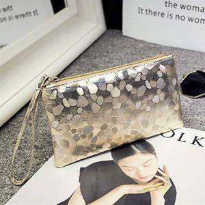 Sacs à bandoulière Ladies Fasion Elegant Sequin Amour Pierre Cosmetic Bag Enveloppe d'embrayage (Or Clair) pour Femme