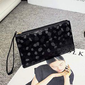 Sacs à bandoulière Ladies Fasion Elegant Sequin Amour Stone Cosmetic Bag Enveloppe d'embrayage (Noir) pour Femme