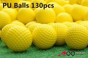 130 pcs Jaune Golf PU Balle Balle en mousse Restricted Flight Balles de golf entraînement Aide à la