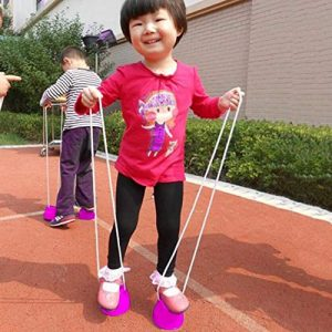 ACROPOLES Funny Plastic Children Kids Outdoor Fun Walk Stilt Jump Smile Face Pattern Sports Balance Training Toy Best Gift