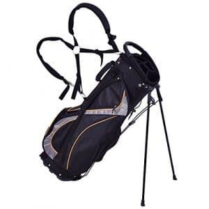 Blitzzauber 24 Sac de Golf Trépied Arrangement de Golf avec Support de Pied Noir