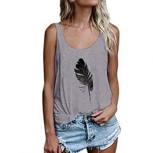 Cebbay T-Shirt Femme Gilet Feuille d'impression sans Manches Récolte lâche Sweat-Shirt Chemisier Hauts Tee T Shirt (Gris,FR-48(Buste:106-110))