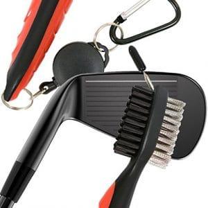 clubs de golf Accessoires de nettoyage pour fers visage et cales Groove golf Cadeau homme nettoyage en nylon et brosse métallique avec pointes en acier Sharp aussi avec cordon rétractable Snapback