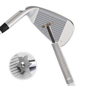 Newthinking Golf Club Groove Nettoyage–Club de golf Taille-crayon Groove Outil avec 6emporte-pièces, meilleure Backspin et contrôle du Ballon, nettoyage et kit d'affûtage pour cales et utilitaire clubs, Silver