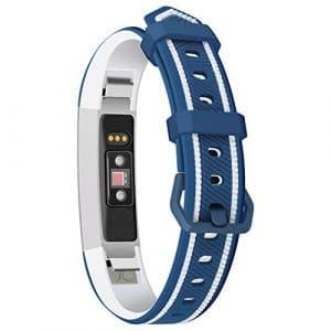 PoeHXtyy Smart Bracelet en Silicone Sports Montre avec Bicolore en Silicone de Remplacement Bracelet pour Fitbit Alta, Bleu/Blanc, 5X 5 x2cm