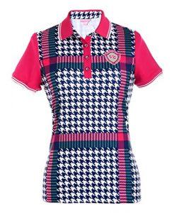SVG Mesdames Polo pour Homme Motif Pied-de-Poule New Dry Fit Veste de Golf Sport Chemises – Rose – Large