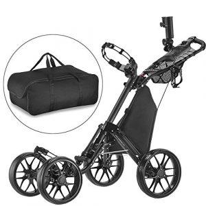 Caddytek facile pliage roue de chariot de golf 4 pousser / tirer et avec le sac d'entreposage, gris foncé