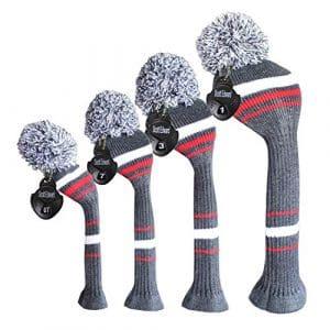 Meili monts foncé Couleur Knit de golf Couvre-fer Lot de 4pilote pour bois, bois de parcours * 2et hybride, Long cou, Big Pom Pom, style discret, Grey White Red Stripes