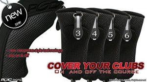 Noir tous les hybride Couvre-fer Lot de 3456couvertures de club de golf Tête Housse en néoprène en maille 3–6complet