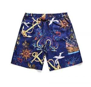 STEAM PANDA Pantalons de Natation d'été de Short de Plage Velours/Polyester en Cuir de pêche à séchage Rapide approprié à: 18-28 Ans d'impression de Carte Nautique