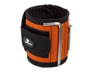 Case4Life Bricolage DIY Bracelet Magnétique avec 10 Aimants – Parfait pour tenir Vis, Ongles, Boulons, Forets + Petits outils Noir/Orange – Garantie à vie
