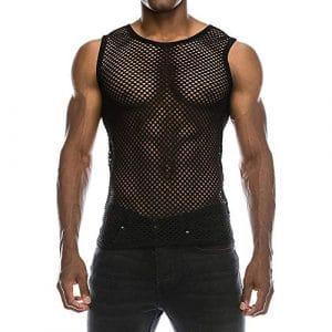 Innerternet Sexy T-Shirt DéContracté pour Homme sous-VêTements sans Manches DéBardeur Slim Fit Gym Mesh DéContracté pour Homme avec Maillot De Chemise Et Chemisier (Noir,S)