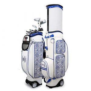 Linqly Sac de voiturette de Golf, 3,9 Pouces poulie épaississant, avec Capuche Amovible de Pluie, Sac de Golf en Cuir PU imperméable à l'eau, *