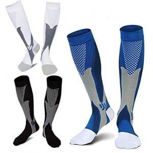 LJXiioo Chaussettes de Compression, 20-30 mmHg Sport Chaussettes de Compression pour Hommes, Femmes (3 Paires),C,2XL/3XL