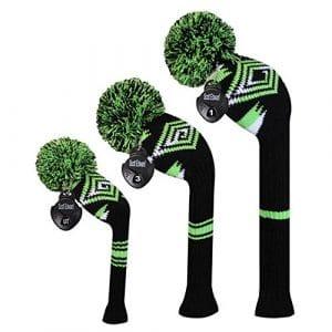 Meili monts foncé Couleur Knit de golf Couvre-fer Lot de 3pour driver, bois de parcours et hybride, Long cou, Big Pom Pom, Homme, Black Green White Abstract