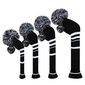 Meili monts foncé Couleur Knit de golf Couvre-fer Lot de 4pilote pour bois, bois de parcours * 2et hybride, Long cou, Big Pom Pom, style discret, Black Color White Stripes