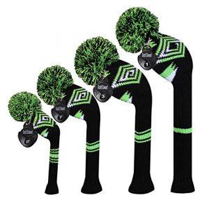 Meili monts foncé Couleur Knit de golf Couvre-fer Lot de 4pilote pour bois, bois de parcours * 2et hybride, Long cou, Big Pom Pom, style discret, Black Green White Abstract