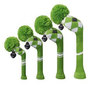 Meili monts lumineux Couleur Knit de golf Couvre-fer Lot de 4pilote pour bois, bois de parcours * 2et hybride, Long cou, Big Pom Pom, Gree Grey White Argyles