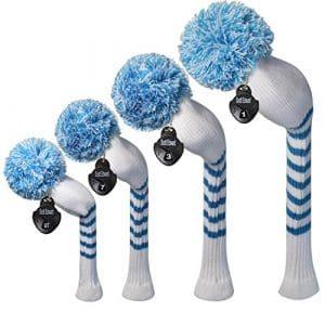 Meili monts lumineux Couleur Knit de golf Couvre-fer Lot de 4pilote pour bois, bois de parcours * 2et hybride, Long cou, Big Pom Pom, Rayures blanches et bleues