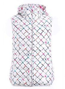 SVG Argyle Imprimé à capuche Gilet Doudoune de Golf pour Femmes Casual Automne/Hiver de Golf sans manches pour homme – blanc – X-Large