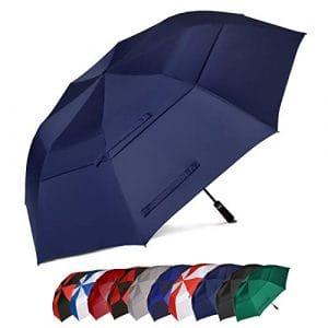 Eono Essentials – Parapluie de golf portable à double voilure et ouverture automatique, protection contre le vent, grand format, 157,5 cm, Bleu marine