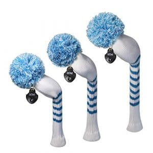 Meili monts Couleur vive Argyles/rayures style Tricot de golf Couvre-fer Lot de 3pour driver, bois de parcours et hybride, Long cou, Big Pom Pom, Rayures blanches et bleues