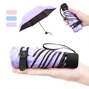 NASUM Mini Parapluie Pliant Ultra Léger Compact Portable Séchage Rapide Résistance aux UV Anti-Vent avec Boucle Hexagone en Silicone pour Activités en Plein Air Golf Voyage Randonnée Violet