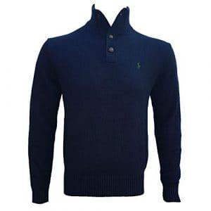 Ralph Lauren Polo Jumper Mens Button Neck Cashlike Blue Medium